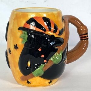 Halloween Witch With Broom Coffee Mug New